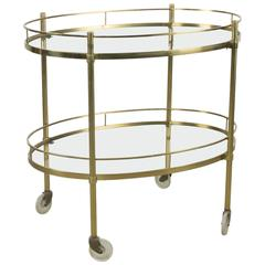 Solid Brass Tea Trolley Attributed to Maxwell Phillips