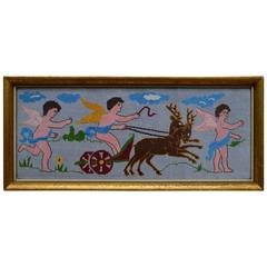 Swedish Needlepoint Textile Showing Cherubs with a Chariot Pulled by Deer