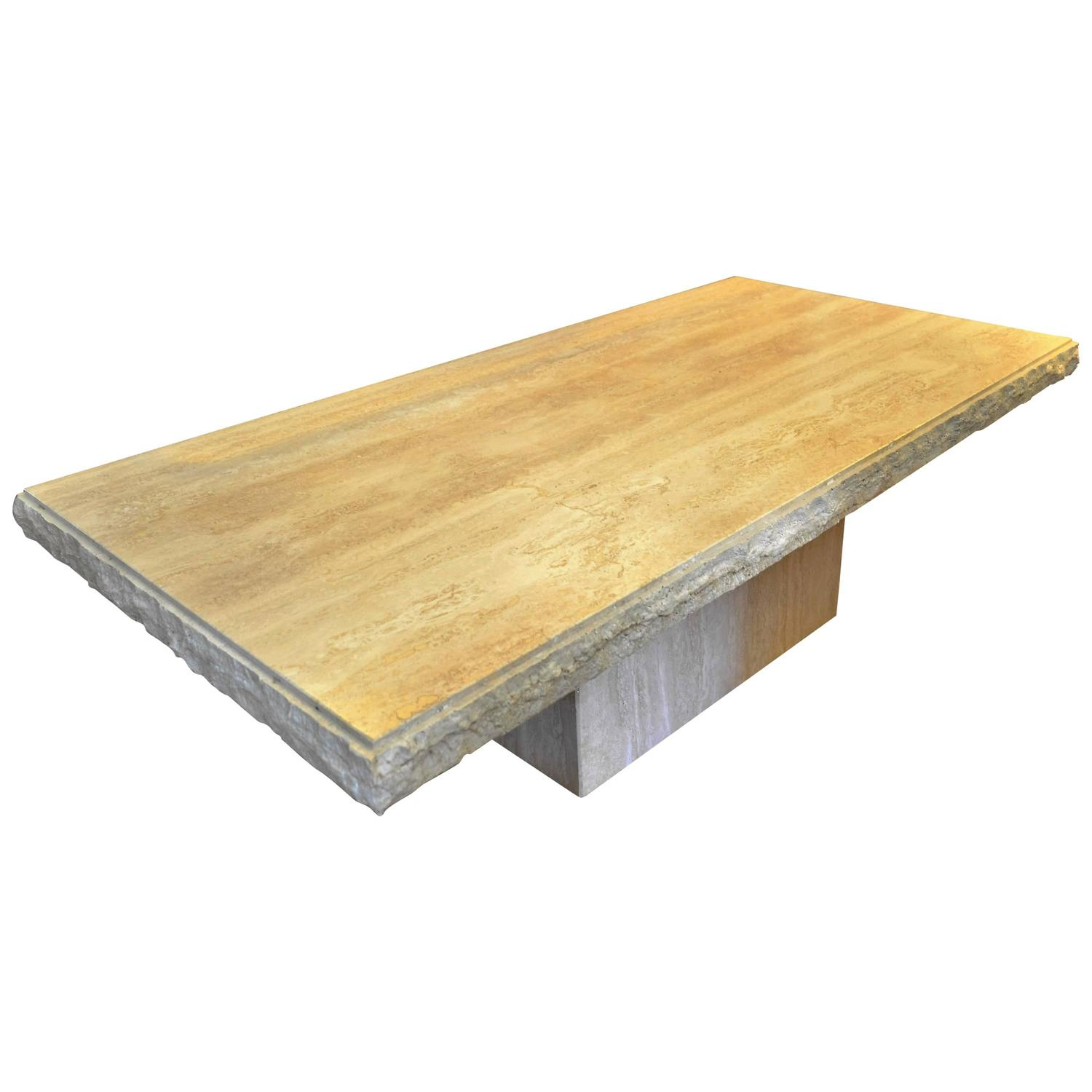 Italian Rectangle Travertine Coffee Table For Sale At 1stdibs