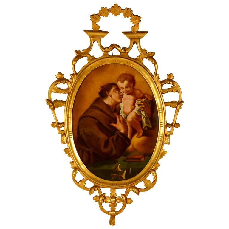 Spanish Religious Reverse Painting Saint Anthony of Padua with Child