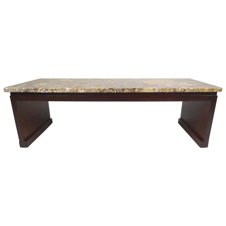 Mid Century Modern Marble Table: Mid-Century Modern Marble-Top Coffee Table Or Bench By