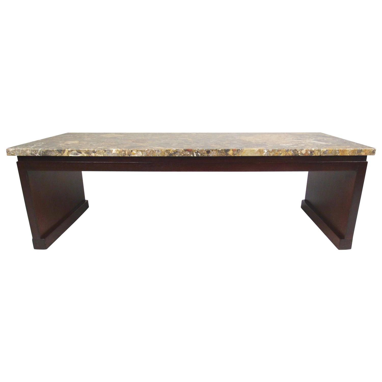 Mid Century Modern Marble Top Coffee Table: Mid-Century Modern Marble-Top Coffee Table Or Bench By