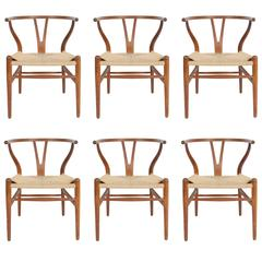 Hans Wegner Set of Six Wishbone CH-24 Dining Chairs for Carl Hansen