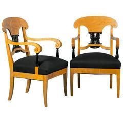 Pair of Antique 19th Century Biedermeier Birch Armchairs from Sweden