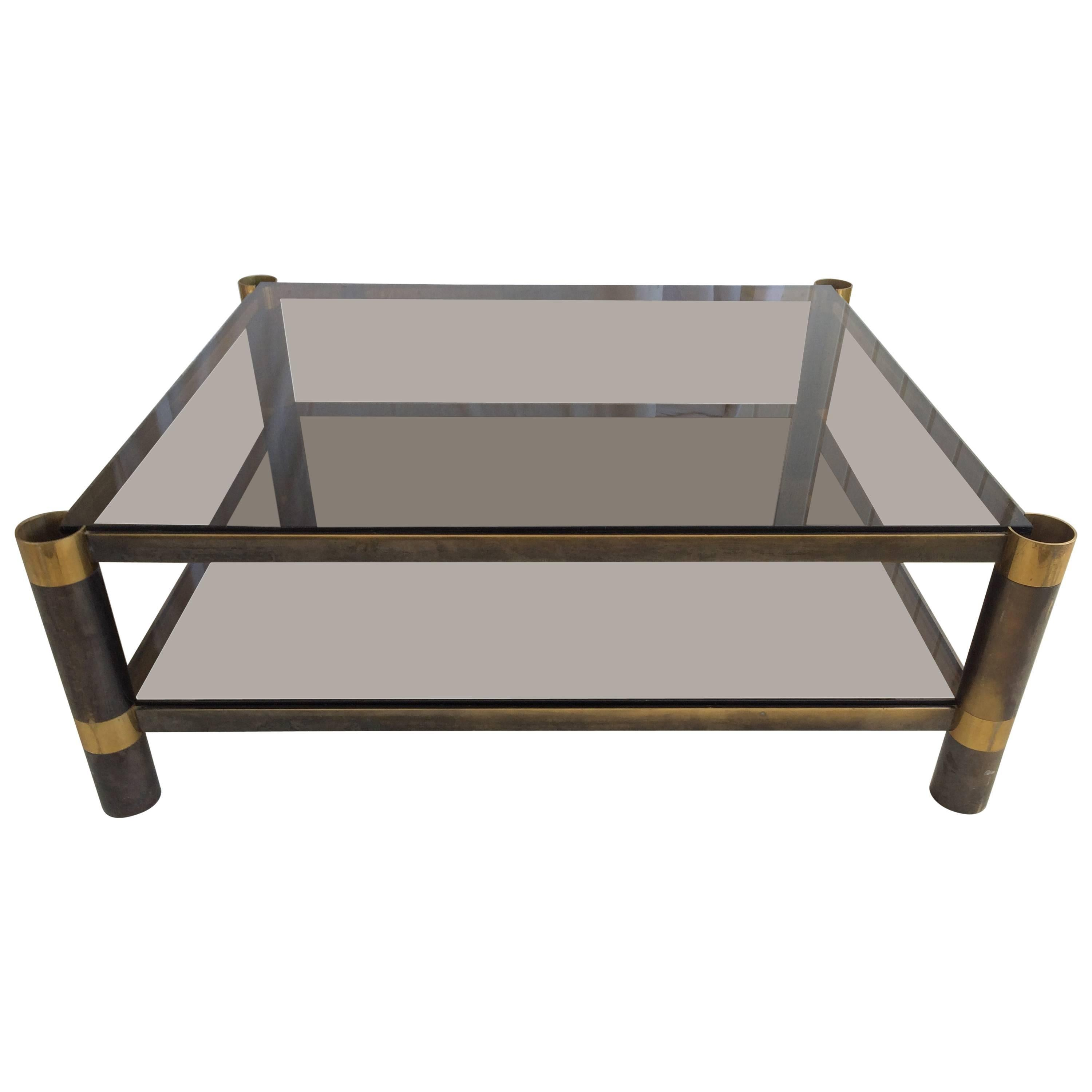 Signed Karl Springer Two-Tiered Smoked Glass Coffee Table