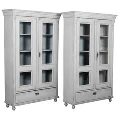 Pair of Antique 19th Century Swedish Bookcases Painted Gray