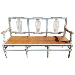 19th Century Gustavian Bench Settee with Rush Seat