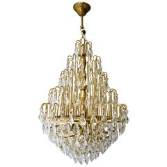 Elegant Brass and Crystal Chandelier