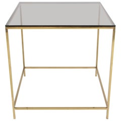 Milo Baughman Brass and Bronze Glass Side Table, circa 1970s