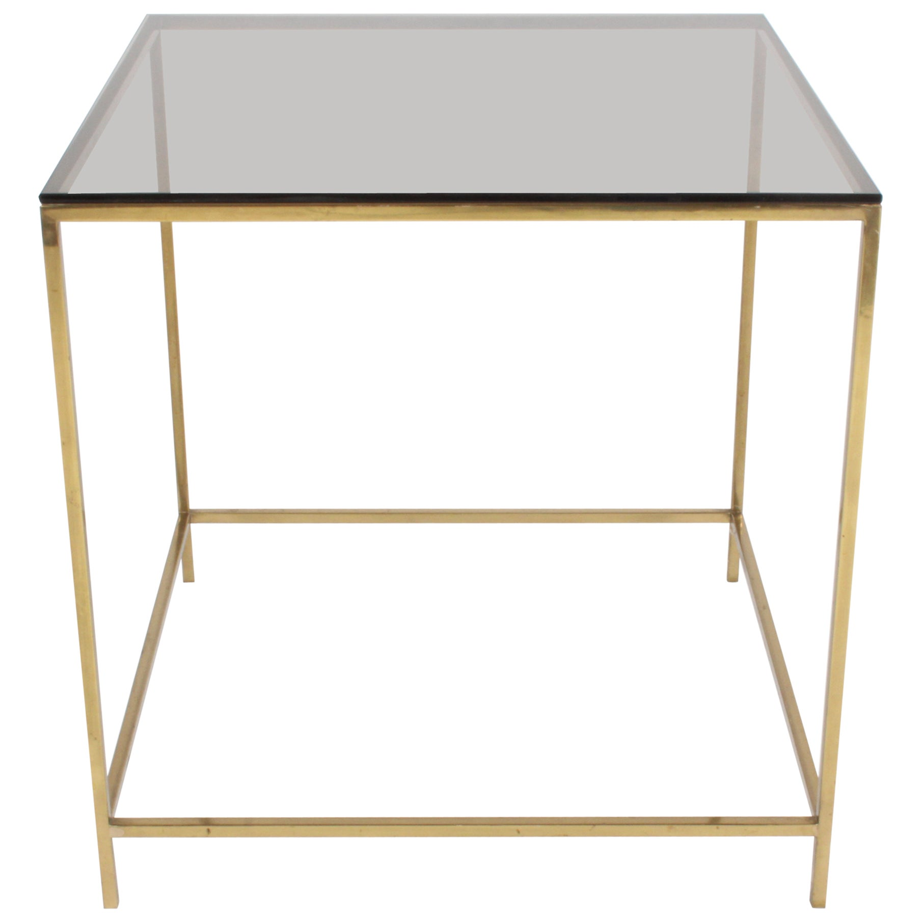 Mid-Century Modern Brass & Bronze Glass Side Table, circa 1970s