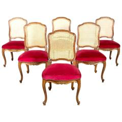 Set of Six 19th Century Antique French Louis XV Cane Back Dining Chairs