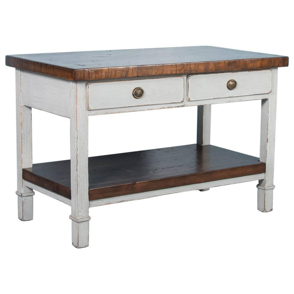 Vintage kitchen island with reclaimed butcher block top for sale at 1stdibs - Industrial kitchen island for sale ...