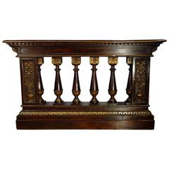 19th Century Italian Balustrade with Renaissance Carvings and Gold Gilt Ca 1850