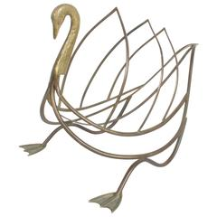 Maison Jensen Style Brass Swan Magazine Rack or Holder Made in Italy
