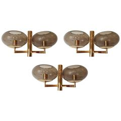 Set of Three Sciolari 1960s Wall Lights