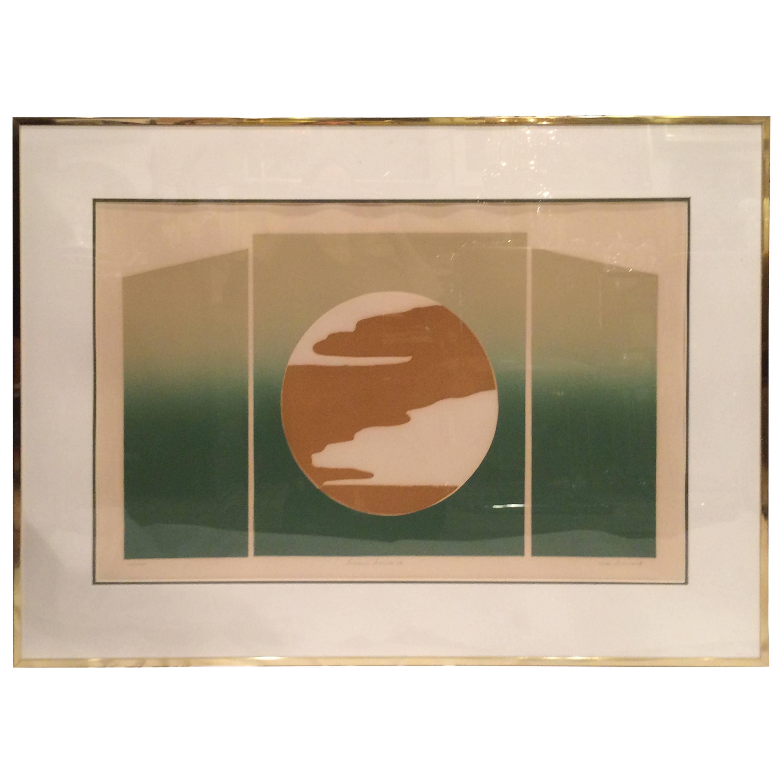 Mid Century Post Modern Silk Screen by Rita Schwartz