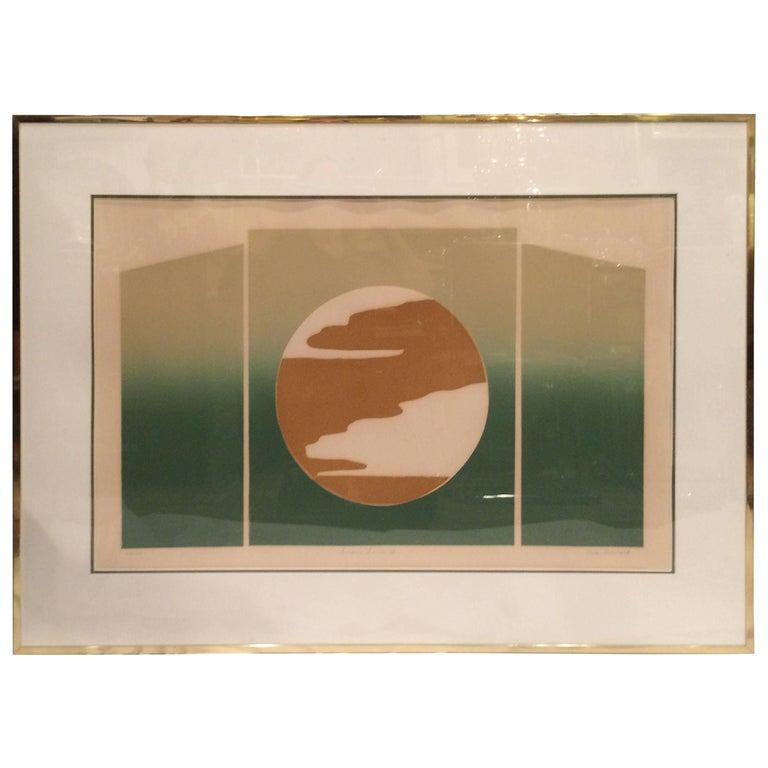 Mid Century Post Modern Silk Screen by Rita Schwartz For Sale