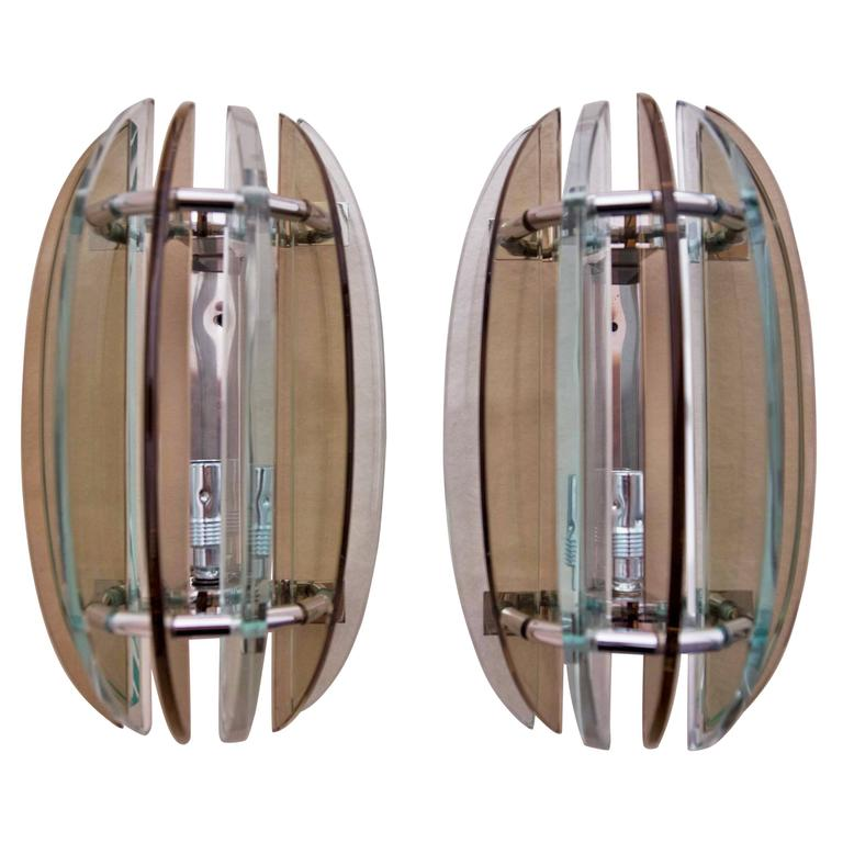 Pair of Wall Lights, Sconces Appliques by Veca Italy Brown and Clear Glass