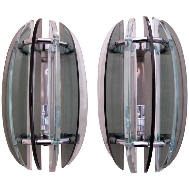 Grey Glass Wall Lights : Pair of Wall lights, Sconces Appliques by Veca Italy Grey and Clear Glass For Sale at 1stdibs