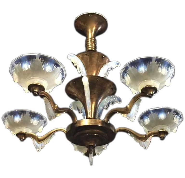 French Art Deco Chandelier with Opalescent Shades by Ezan