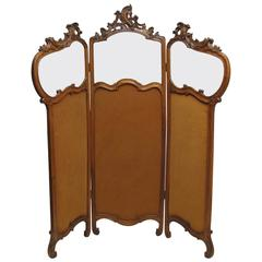 French Art Nouveau Style Walnut Dressing Screen
