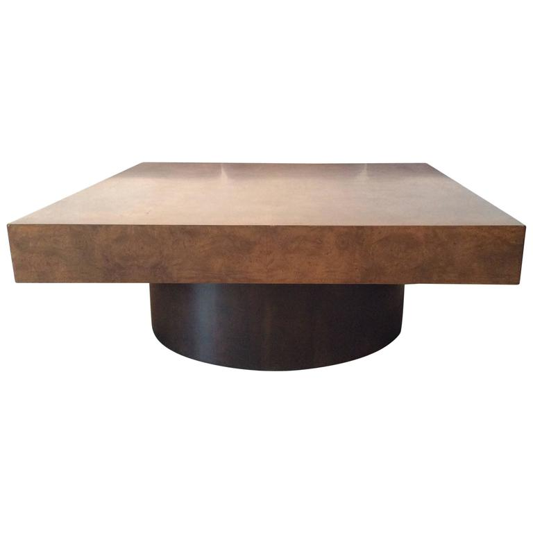 Milo Baughman Burl Wood Coffee Cocktail Table Mid-Century Modern Patchwork  For Sale