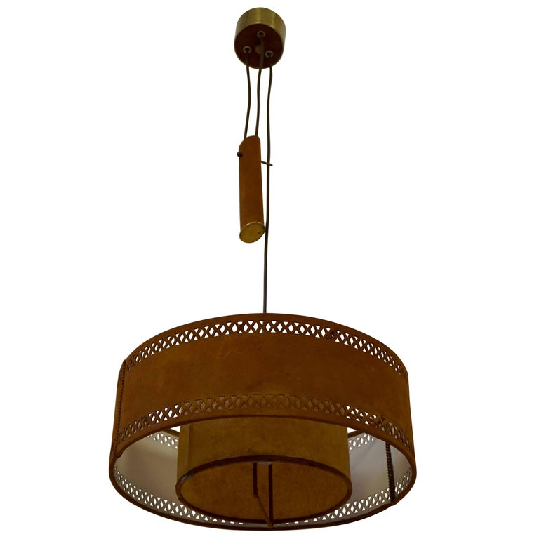 Rare Adjustable Ceiling Light in Brass and Suede For Sale