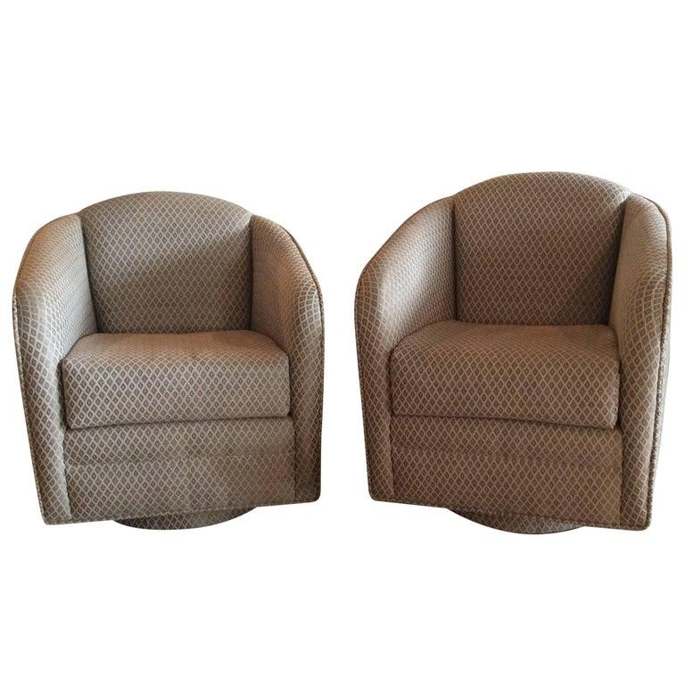 Pair Of Swivel Platform Club Lounge Barrel Armchairs Hollywood