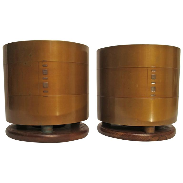 Japanese Bronze Hibachi's or Planters with Silver Inlay, Early 20th Century  For Sale