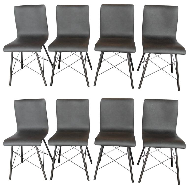 Set of eight contemporary leather dining chairs for sale for Contemporary leather dining chair