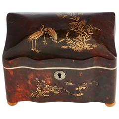 Rare Chinese Export Tortoiseshell Tea Caddy, circa 1840-1850