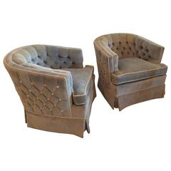 Pair of Vintage Button Tufted Arm Chairs Barrel Tub Swivel Hollywood Regency