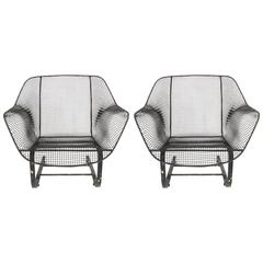 Pair of Russell Woodard Sculptura Springer Low Wide Lounge Chairs