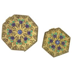 Pair of Octagon Compacts Vermeil Filigree Hallmarked & Enameled Flower Applique