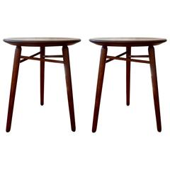 Pair of Walnut Occasional Tables or Stools by Glenn of California