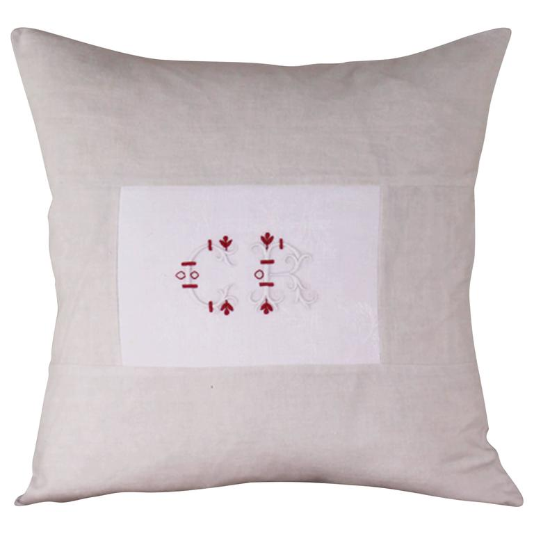 Medium Antique Linen and Embroidery Monogramed Cushion 'CR'