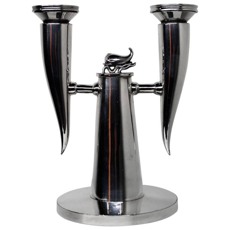 gio ponti dolphin candelabra by christofle 1925 for sale at 1stdibs. Black Bedroom Furniture Sets. Home Design Ideas