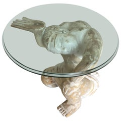 Striking Tony Duquette Style Carved Wood Kneeling Man Martini Table