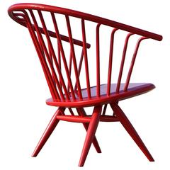 Ilmari Tapiovaara Modernist, Crinolette Lounge Chair Original Red 1962 Asko