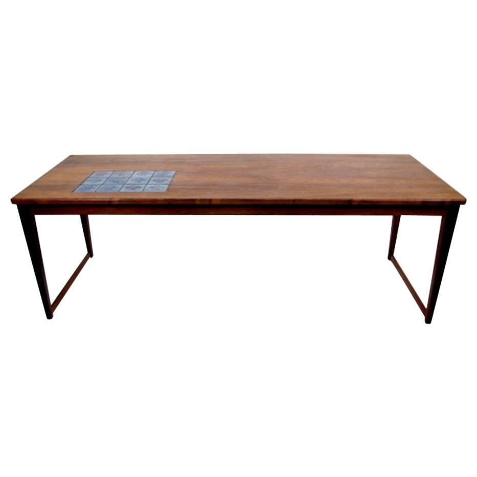 Very Rare And Stylish Coffee Table Svend Langkilde Rosewood With Ceramic Tile For Sale At 1stdibs
