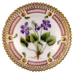 Antique Royal Copenhagen Flora Danica Caviar Dish, 19th Century Mark