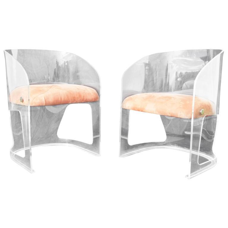 Plexiglas And Suede Lotus Chair By Vladimir Kagan For Sale