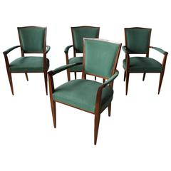 Set of Four French Art Deco Mahogany Bridge Armchairs Attributed to Dominique