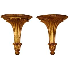 Pair of Italian Gold Leaf Reproduction Carved Wood Wall Brackets