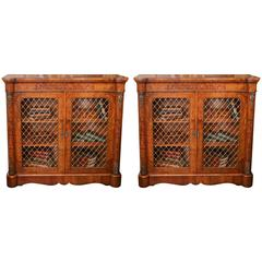 Pair of 19th Century, French, Cabinets with Marquetry