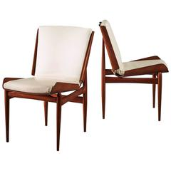 Pair of Folded Plywood and Leather Italian Side Chairs, 1950s