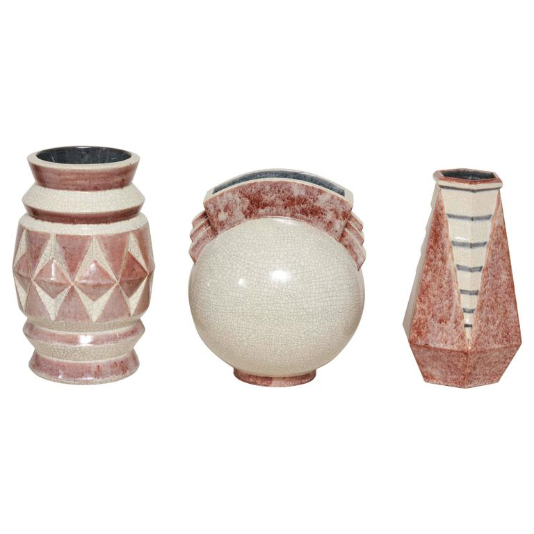 Collection of Three French Art Deco Vases by Marcel Guillard for Editions Etling