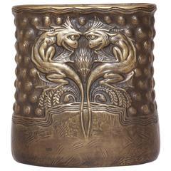 Gustave Gurschner Patinated Bronze Vase