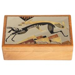 French Art Deco Fruitwood, Lacquer and Metal Box 'Animaux Fantastiques'