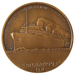 French Art Deco Bronze Medal Commemorating the SS L'Atlantique, 1931